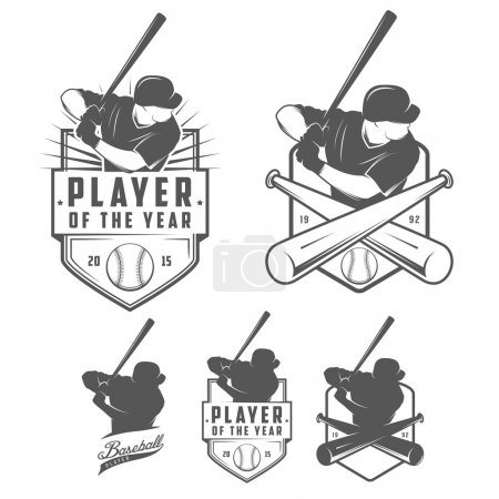 Set of baseball labels and badges