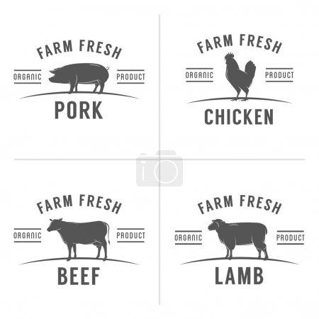 Illustration pour Série de timbres et étiquettes de viande de boucherie vintage - image libre de droit