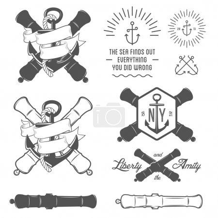 Illustration pour Ensemble d'étiquettes nautiques vintage, icônes et éléments de design - image libre de droit