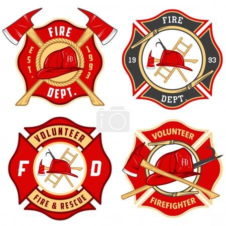 Foto de Conjunto de etiquetas de cuerpo de bomberos, emblemas e insignias - Imagen libre de derechos