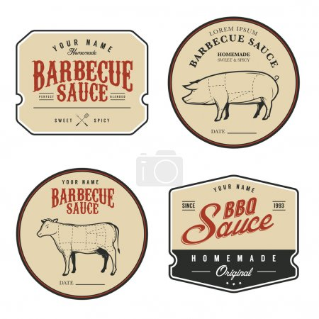 Illustration for Set of vintage homemade barbecue sauce labels - Royalty Free Image