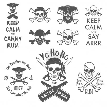 Set of pirate themed design elements...