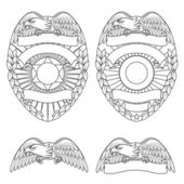 Detailed police department badges and design elements
