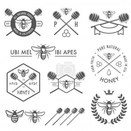 Ilustración de Conjunto de etiquetas de miel vintage, insignias y elementos de diseño - Imagen libre de derechos
