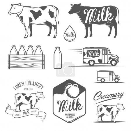 """Illustration pour Ensemble d """"étiquettes, d'emblèmes et d"""" éléments de design vintage pour le lait et la crème - image libre de droit"""