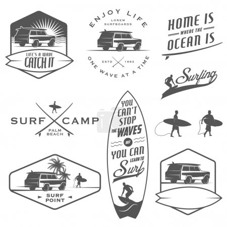 Set of surfing labels, badges and design elements