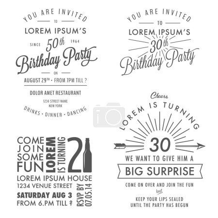 Illustration for Set of adult birthday invitation vintage typographic design elements - Royalty Free Image