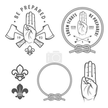 Illustration for Vintage scout symbols and design elements - Royalty Free Image