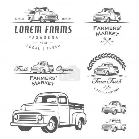 Illustration pour Ensemble de vintage, étiquettes, écussons et éléments de conception de l'agriculture - image libre de droit