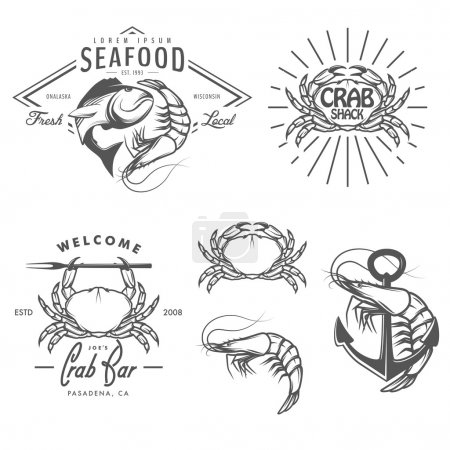 Set of seafood labels, badges and design elements