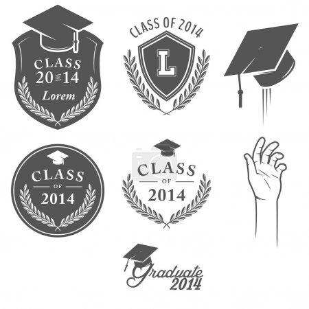 Set of graduation labels, badges and design elements
