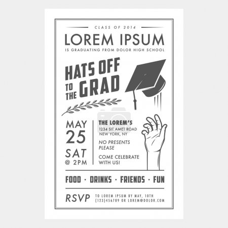 Illustration for Vintage black and white graduation party invitation card - Royalty Free Image