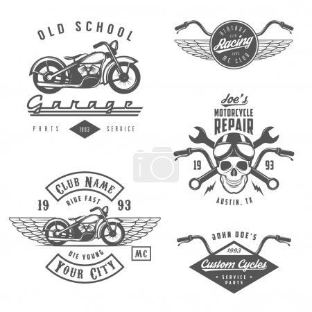 Set of retro motorcycle labels, badges and design elements