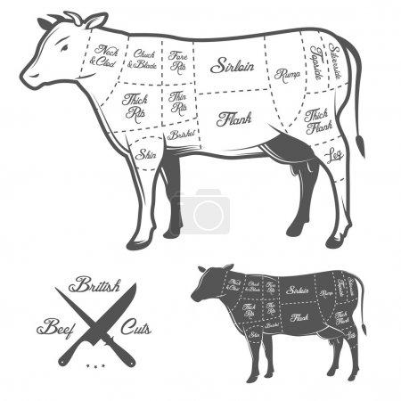 British cuts of beef diagram