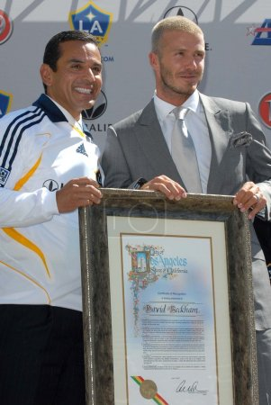 Antonio Villaraigosa and David Beckham