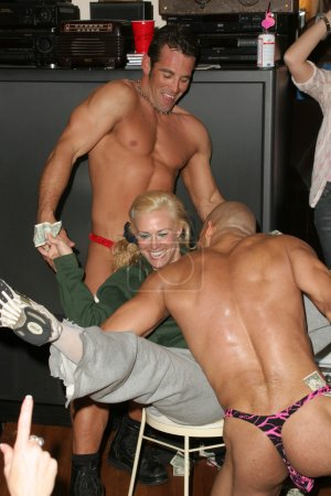 Photo for Renee Stone and Male Strippers at a White Trash Themed Bridal Shower and Party for Lisa Ligon, Private Location, Studio City, CA 03-19-06 - Royalty Free Image