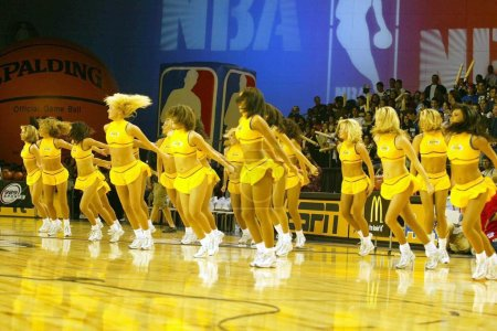 """Photo for The Los Angeles Lakers """"Lakers Girls"""" at the 2004 NBA All-Star Celebrity Basketball Game in the Los Angeles Convention Center, Los Angeles, CA. 02-13-04 - Royalty Free Image"""