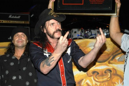 """Photo for Philip Campbell and Lemmy Kilmister at Motorhead inducted into Hollywood""""s RockWalk, Whisky A Go-Go, West Hollywood, Calif., 09-01-03 - Royalty Free Image"""