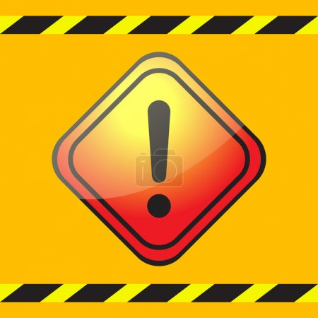 Warning exclamation mark on a square plate on a yellow background with warning tapes.