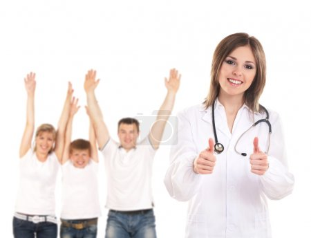 Young attractive female doctor and family isolated on white
