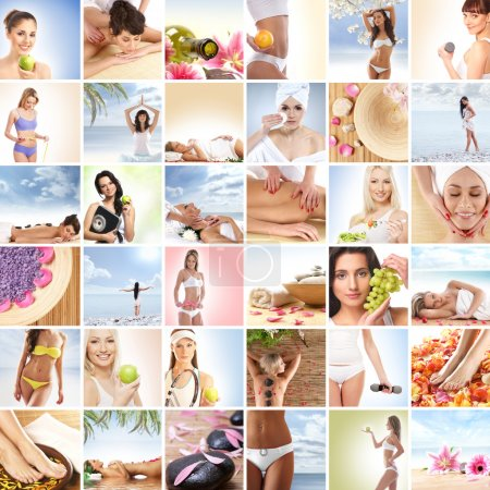 Photo for Beautiful spa and health collage made of many elements - Royalty Free Image