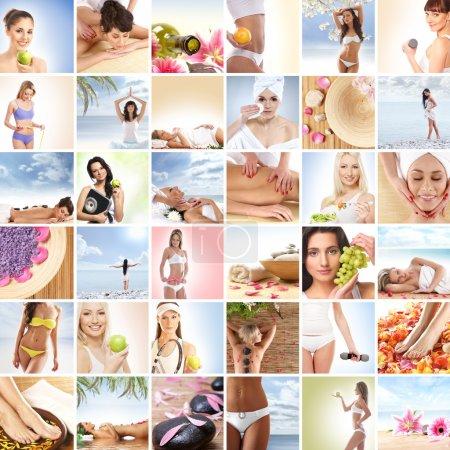 Photo pour Beau collage de spa et de la santé, constitué de nombreux éléments - image libre de droit
