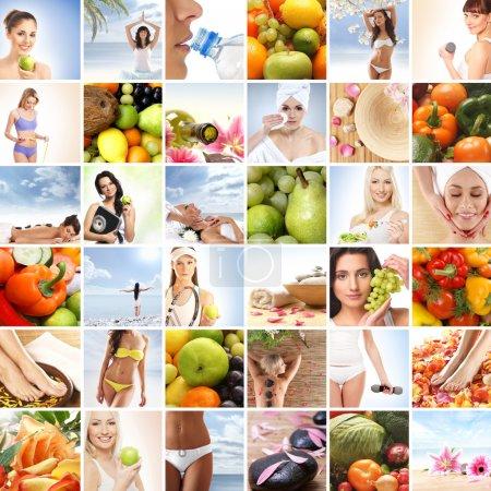 Foto de Collage de muchas imágenes sobre deporte, salud, dieta y nutrición - Imagen libre de derechos