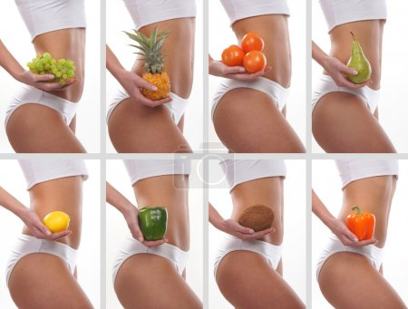 Collage of some photos with sporty belly and fruits