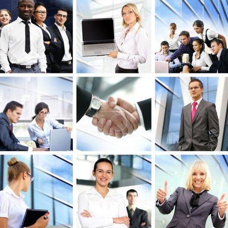 Photo pour Collage d'affaires composé de nombreuses images différentes sur les finances, le temps, l'argent, l'immobilier et les relations corporatives - image libre de droit
