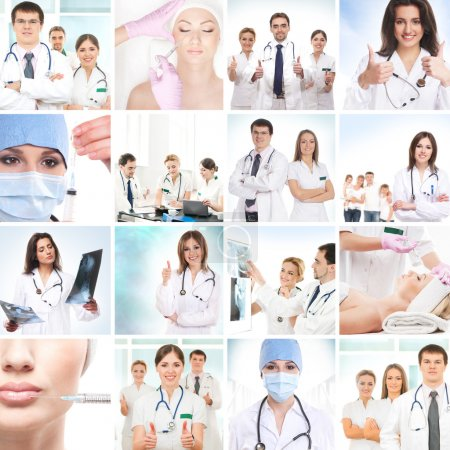 Photo for Plastic surgery collage made of some different pictures - Royalty Free Image