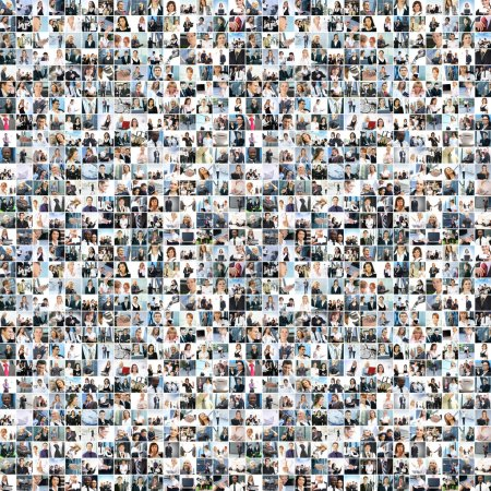 A large business collage with many persons