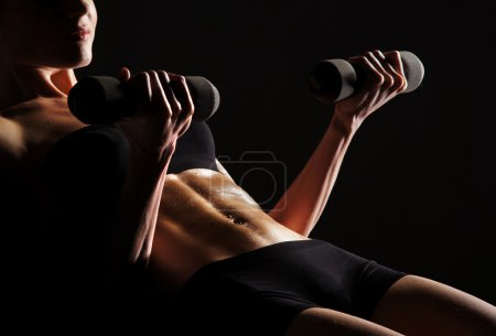 Photo for Sexy body of young attractive sporty belly - Royalty Free Image