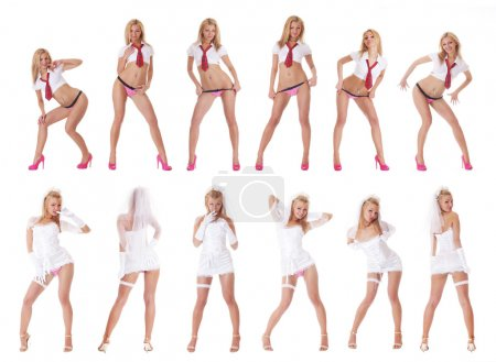 Photo for Young sexy strip bride in vulgar pose isolated on white - Royalty Free Image