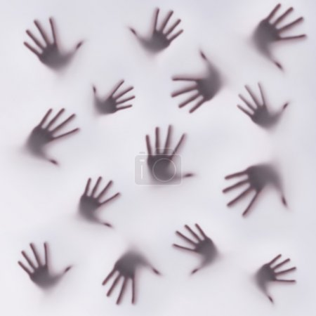 Photo for Frightening silhouette of many different hands - Royalty Free Image