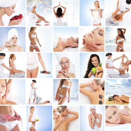 Photo pour Sport, massages, fitness et collage saine alimentation - image libre de droit
