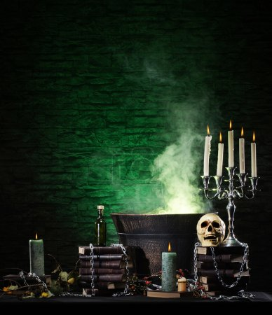 Halloween still-life background with a lot of diff...