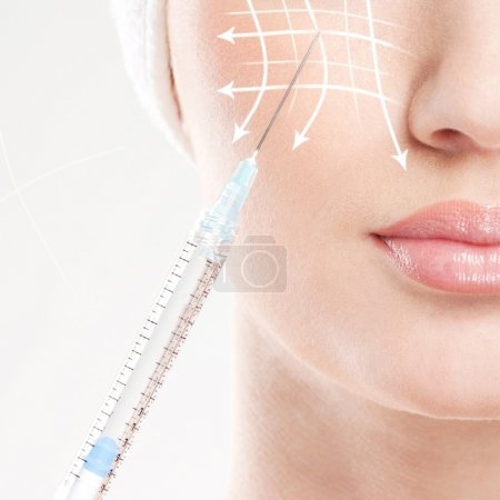 Beauty portrait of a young woman on a medical procedure
