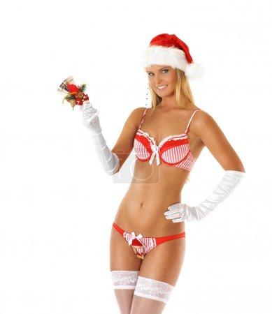 Young sexy Santa in bikini