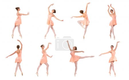 A set of young ballet dancers on a white background