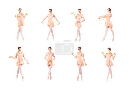 Photo pour Collection de nombreuses photos différentes de belle ballerine avec la pomme et ruban à mesurer isolé sur blanc - image libre de droit