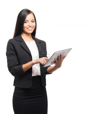 A young businesswoman with a tablet computer