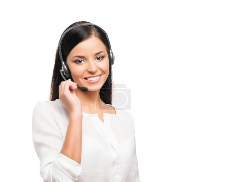 A young female customer support operator on a white background