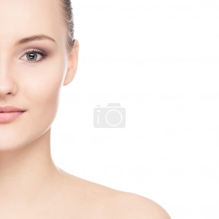 Photo for Close-up portrait of attractive caucasian girl with a beautiful face isolated on white - Royalty Free Image
