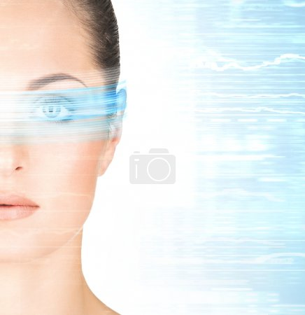 Woman with the laser hologram on her eyes