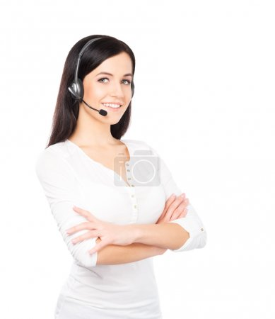 Young beautiful customer support operator