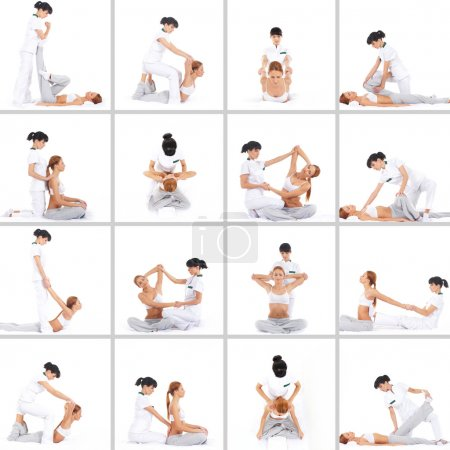 Photo for Set collection with many different images of the woman getting traditional thai stretching massage by therapist isolated on white background - Royalty Free Image