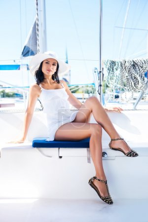 Photo for Young and beautiful woman on a luxury yacht - Royalty Free Image