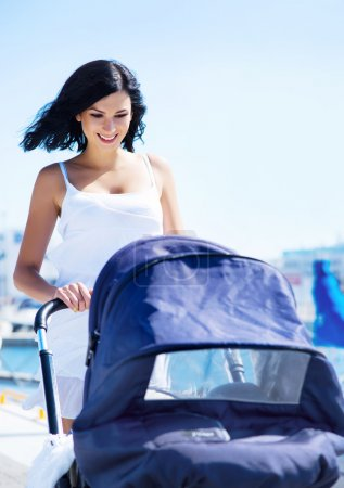Mother with baby pram