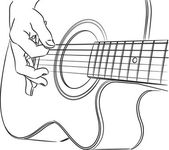 Acoustic guitar playing - vector
