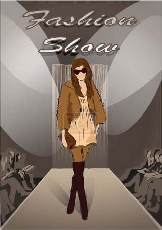 Fashion girl on Fashion show background